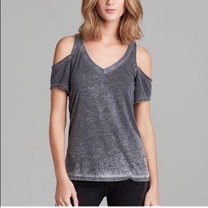 Chaser Burnout Cold Shoulder Tee Shirt Blue Gray